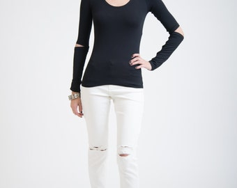Black Top / Long Sleeve Blouse / Fitted TShirt / Open Elbows Blouse / Party Top / Sexy Shirt / marcellamoda - MB196