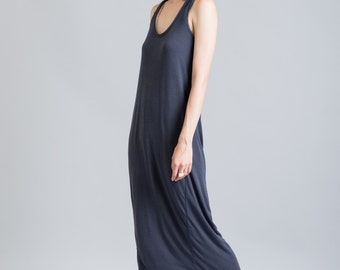 Summer Dress / Maxi Dress / Racer Back Dress / Party Dress / Long Loose Dress / Blue Dress / marcellamoda - MD190