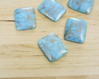 6 Vintage Blue Drizzle Glass Cabochon Square 28x23mm [GCAB8006] SALE