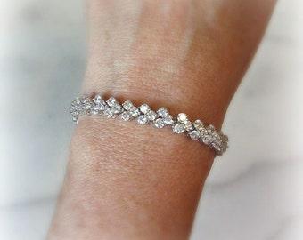 Cubic Zirconia Bracelet, Silver or Gold Crystal Tennis Bracelet, Wedding Bracelet - PIPER