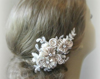 Champagne Flower Hair Clip, Bridal Fascinator with Crystals and Pearls, Flowers, Ivory, White - ALLISON
