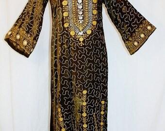 1970's Olive Green Velvet Velour Maxi Dress Large Embroidered Indian Vintage Retro 70s Hippie Boho Burning Man Pakistan Meditation