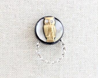 Eyeglasses Magnetic Lanyard Holder, Gold Owl White Moon, Magnetic Pin ID Badge Sunglasses, Unique Teacher Gift, Reading Eyeglasses Accessory