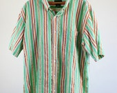 SALE - Vintage Green and Orange Stripe Short Sleeve Summer Shirt - Mens Size Large