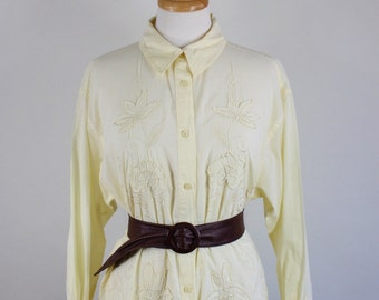SALE - Vintage 80s Womens Pastel Yellow Floral Embroidered Sheer Cotton Long Sleeved Shirt
