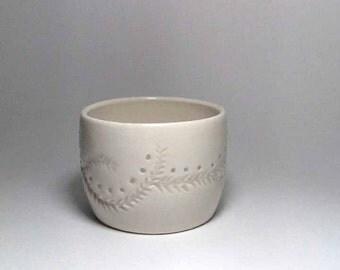 Handmade Carved And Drilled Porcelain Candle Holder - Carved Candle Holder - Translucent - Pottery Candle Holder - Wedding Favor