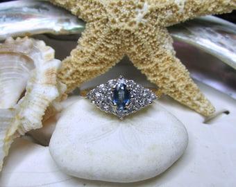 14k Vintage Ceylon Sapphire and Diamond Ring 3.10g Size 7.5