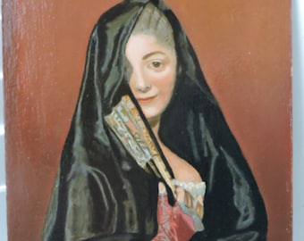 Vintage MID-CENTURY Spanish Lady w/ A Veil After GIROUST Portrait Painting c1955