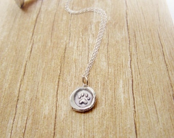 Mini Paw Print Charm Necklace Wax Seal Embossed Sterling Silver Custom Memory Pendant Dog Cat Memorial Pet Lover Jewelry