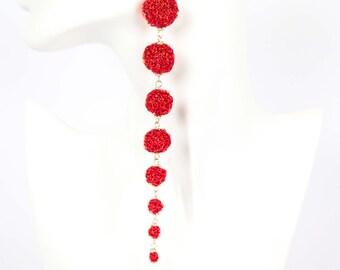 Crocheted red wire earrings jewelry desire amazing flower abstract women long exclusive original  Regina Doseth handmade Lithuania EU