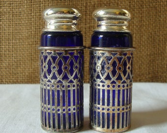 VINTAGE COBALT Blue Glass and Silver Plate Salt & Pepper Shakers Pair Serving Well Dressed Table Silver Plate Brilliant Blue Glass