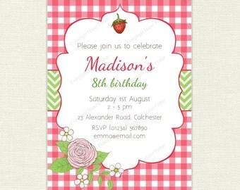 Summer Garden Party Invitation - birthday / baby shower invite, picnic, flower, strawberry, gingham, printable digital invite
