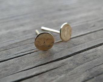 Gold Stud Earrings 8mm 14k Solid Gold Simple Hammered Flat Round Post Earrings Gold Jewelry Dot Stud Spring Gift For Her VALENTINES DAY SALE