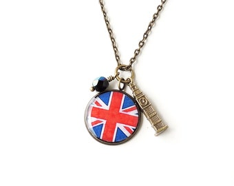 London Charm Necklace, Big Ben, Union Jack Flag, Westminster Parliament, UK Britain Charm Jewellery, London Jewelry, Vintage Style, UK (074)