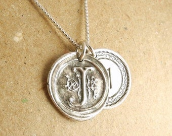 Double Monogram Necklace, Wax Seal Monogram, Victorian Monogram, Personalized, Fine Silver, Sterling Silver Chain, Made To Order