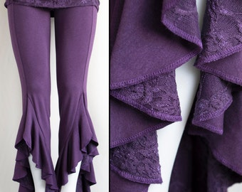 Tribal Belly Dance Hula Hoop Festival Ruffle Pants Eggplant Purple Bamboo with Lace Detail
