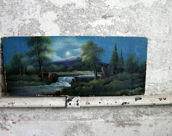 Vintage Moonlight River Painting