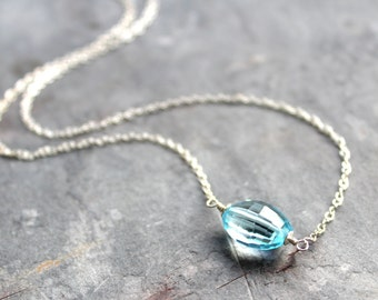 Blue Topaz Necklace Sterling Silver Layering Necklace Faceted December Birthstone