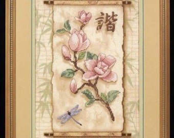 DIMENSIONS Stamped Cross Stitch Kit 3203 FLORAL SCROLL Mellisa Edmonds Chinese Character Dragonfly Bamboo Pink Flowers