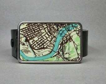 Belt Buckle Knoxville Tennessee Vintage Map Unique Gift for Men or Women