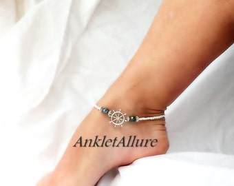 Ships Wheel Anklet Cruise Jewelry Ankle Bracelet Anklet Aqua Blue Crystal Body Jewelry