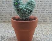 "Tiny heart shaped Amigurumi Cactus in 2"" Terra Cotta Planter"