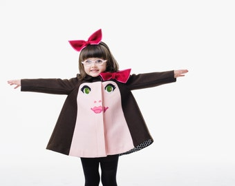 Girl's Lucy Coat// Wool Felt Girls Dress Coat// Lucy Coat// Handmade Girls Face Coat// Girl's Holiday Dress Coat// Handmade Girls' Clothing