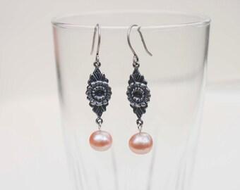 Blush Pearl & Flower Drop Earrings in Antique Silver - Art Nouveau Style, Elegant, Wedding