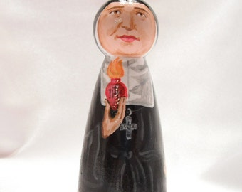 Saint Jane Frances de Chantal - Catholic Saint Wooden Peg Doll Toy - made to order