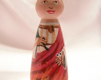 Saint Lucy - Catholic Saint Wooden Peg Doll Toy - made to order