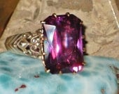 HOLD For Yun - Ring of the Royal Court - Blue to Violet Antique Victorian Color Change Sapphire Ring - Gold & Sterling - Love, Psychic Power
