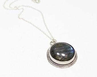 Handmade Round Labradorite Sterling Silver Pendant