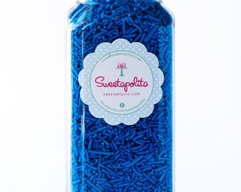 16oz ( 2 cups) Bottle Bright Blue Jimmies, Vegan, Gluten-Free, Skinny Sprinkles, Sugar Strands, Blue Sprinkles, Canadian Sprinkles