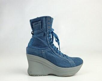 90's Denim Blue Jean Skechers Wedge Platform Heel Lace Up Ankle Boots // 7