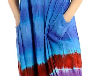 La Leela Rayon Multi Tie Dye Women Plus-size Beach Dress Coverup Blue US SIZE 5X -124496