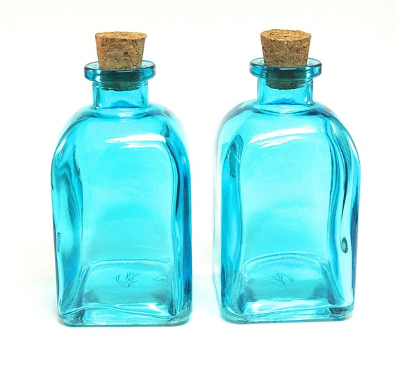 2 roma glass bottles with corks 250ml 8 5 ounce aqua blue for Colored glass bottles with corks