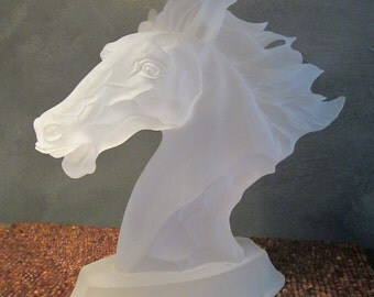 Lucite Wild Horse Head - Large Dramatic Sculpture - Vintage Acrylic