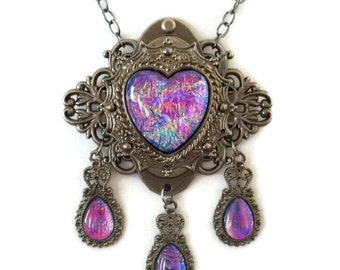 Fairy Garden Harlequin Opal Edwardian Heart Necklace