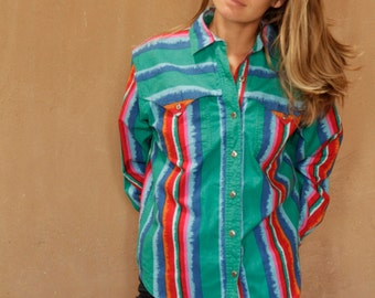 vintage IKAT style BRIGHT southwest oversize button down vintage shirt cowboy style ARIZONA new mexico style top
