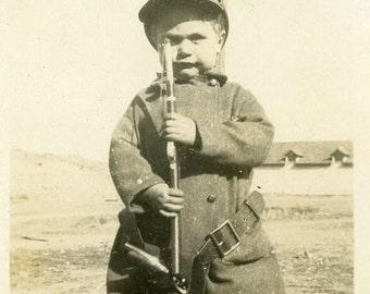 "Vintage Photo ""Brave Little Soldier"" Snapshot Photo Old Antique Photo Black & White Photography Found Photo Paper Ephemera Vernacular - 164"