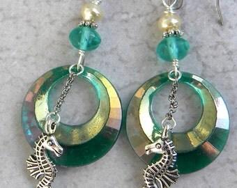 Mermaid Earrings - Sea Horse Earrings - Vintage Little Mermaid Earrings - Under The Sea Earrings  - Silver Sea Horse Earrings