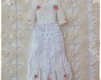 1:12 Edwardian Fashion Dress  dollhouse miniature by Soraya Merino