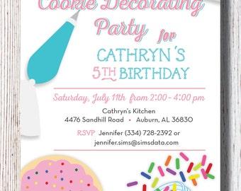 Cookie Decorating Birthday Party Invitation