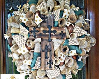 Whimsical Rustic Cross  Cream and Burlap Wreath
