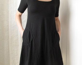 Freya Dress (Bamboo/cotton/spandex. Elbow length sleeves.  Pockets.  Aline.  Scoop neck. Empire waist.)