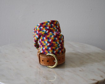 Belt Leather Woven Brown Rainbow Brass - Women S M - 1970s Vintage