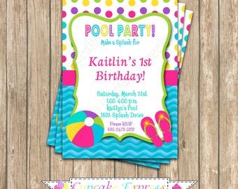 DIY Pool Party Girls boys Birthday Party  PRINTABLE Invitation 5x7  summer splash 1st first birthday - 1070