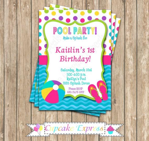 DIY Pool Party Girls boys Birthday Party PRINTABLE Invitation – Homemade Pool Party Invitations