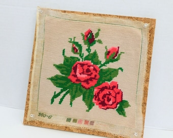 Red Roses Finished Needlepoint Country Cottage Chic Home Decor Pillow Front