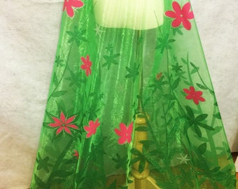"""Inspired Frozen Fever Elsa Spring Long Cape Panel Flower Organza Fabric 60"""" wide Green Pink Silver Flowers"""